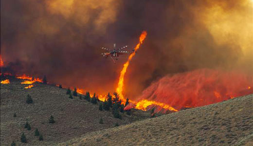 Idaho blackened by brushfire