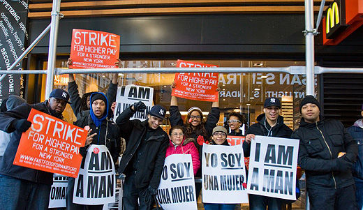 Fast food workers walk out, seek living wages, union recognition