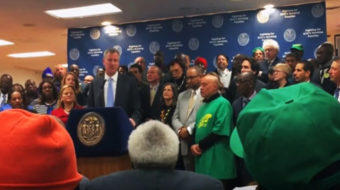 Mayor De Blasio helps celebrate NY Fight For 15 victory