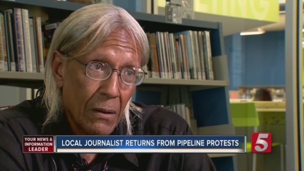 The author was interviewed by the Nashville media after returning from Standing Rock.   Screenshot from Nashville NewsChannel 5