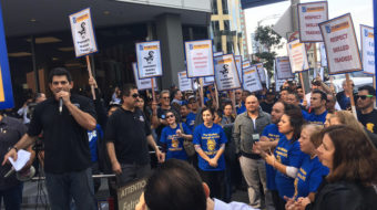 Skilled trades workers hit streets for fair wages at UCLA