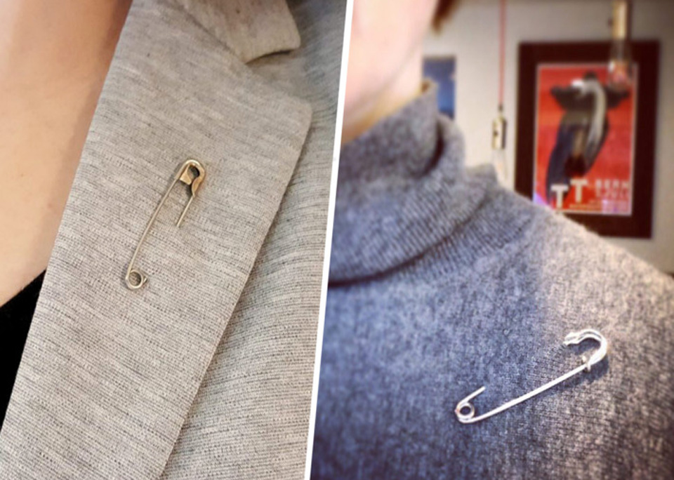 Humanist celebrants show solidarity with safety pins