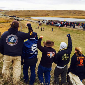 Members of Labor for Standing Rock near the Standing Rock camp in October. | Labor for Standing Rock