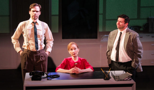 """Vonnegut USA,"" left to right, Rob Smith as Lou Sterling, Carryl Lynn as Nancy Daily, and Matt Taylor as Bud Carmody / Maia Peters"