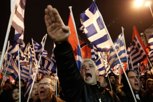 "Members of Greece's Golden Dawn party at a rally in Athens. The neo-Nazi organization has praised Trump's victory as a win for all who support ""clean ethnic states."" 