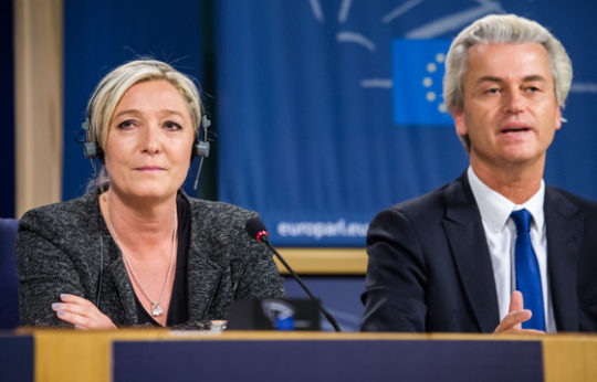 Front National presidential candidate Marine Le Pen of France (left) and Dutch Freedom Party leader Geert Wilders (right) are among the nationalist politicians in Europe hoping for a Trump boost. | Geert Vanden Wijngaert / AP