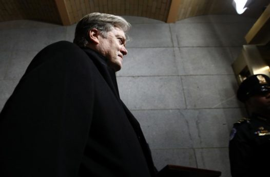 Senior Counselor to the President Steven Bannon arrives at the U.S. Capitol on Jan. 20, 2017 for Donald Trump's inauguration. This weekend, he was appointed to the National Security Council. | Win McNamee / AP