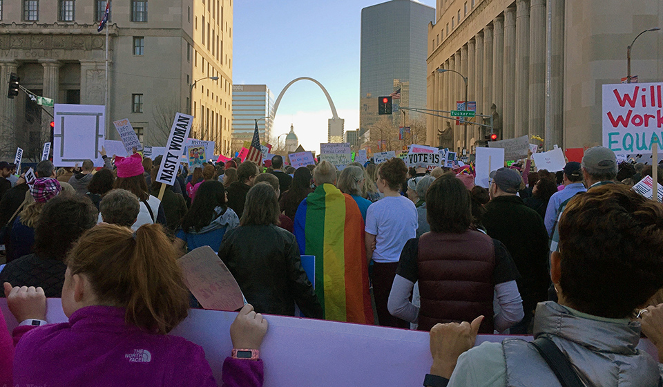St. Louis Women's March draws thousands, protesting Trump