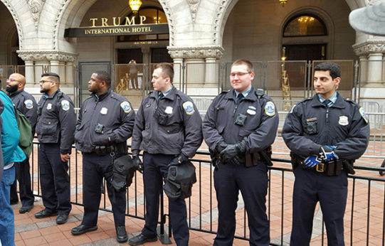 D.C. police reluctantly guard Trump's hotel during Women's March. | Larry Rubin/PW