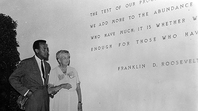 With Eleanor Roosevelt in Brussels, 1958, Wikimedia Commons, National Archives and Records Administration as part of a cooperation project.