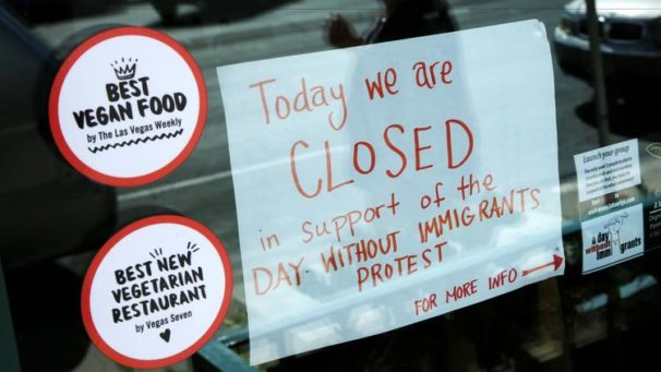 Many restaurants and other businesses across the U.S. closed their doors in solidarity with immigrants who stayed home from work or school for the 'Day Without an Immigrant'. Here, a restaurant in Las Vegas displays a sign in its window announcing its decision to customers. | John Locher / AP
