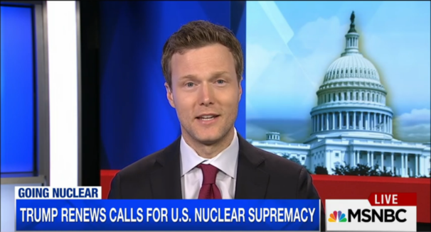 Dr. Matthew Kroenig appeared on MSNBC on Feb. 26 to discuss President Trump's call for a new nuclear arms race. Kroenig says the U.S. is falling behind Russia. | Screen capture from MSNBC