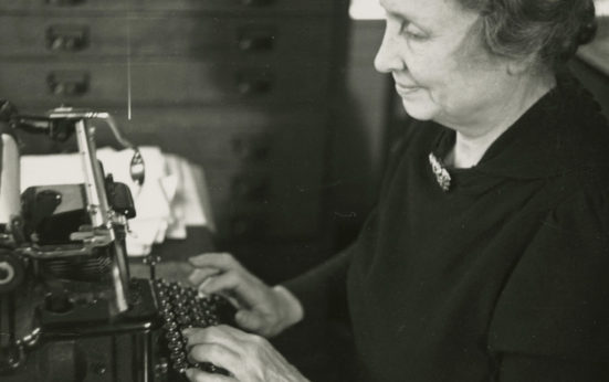 Helen Keller at work on the typewriter. | Perkins School for the Blind