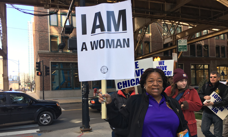Chicago's women bus drivers protest filthy, unsafe port-a-potties