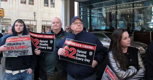 Teamsters members protest outside the shareholders meeting of drug wholesaler AmericsoureBergen in Philadelphia on March 2. Protesters outside highlighted the company's role in the opioid epidemic while union officials inside demanded accountability from the board of directors. | Teamsters.org