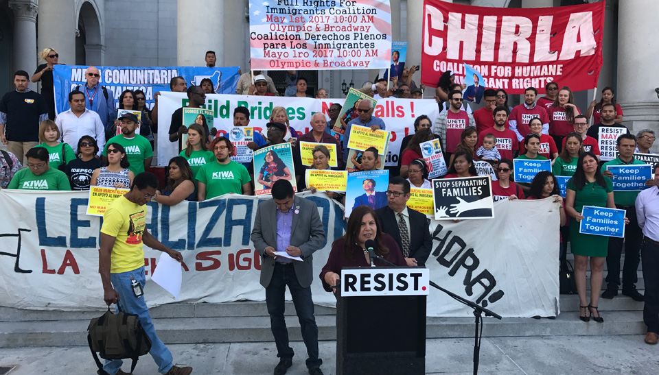 May Day marches in LA stress unity in resistance to Trump