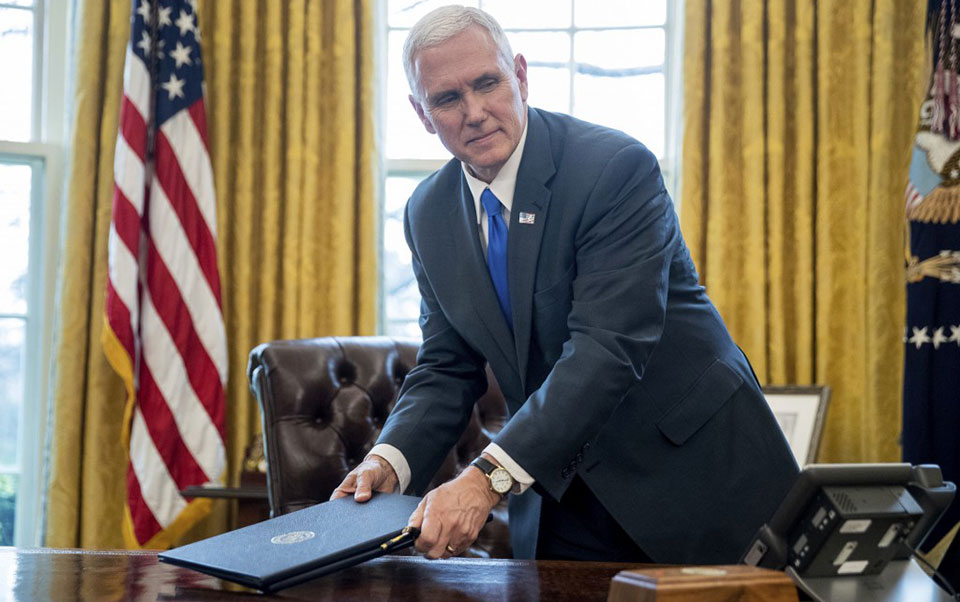 Pence leads under-the-radar attack on unions
