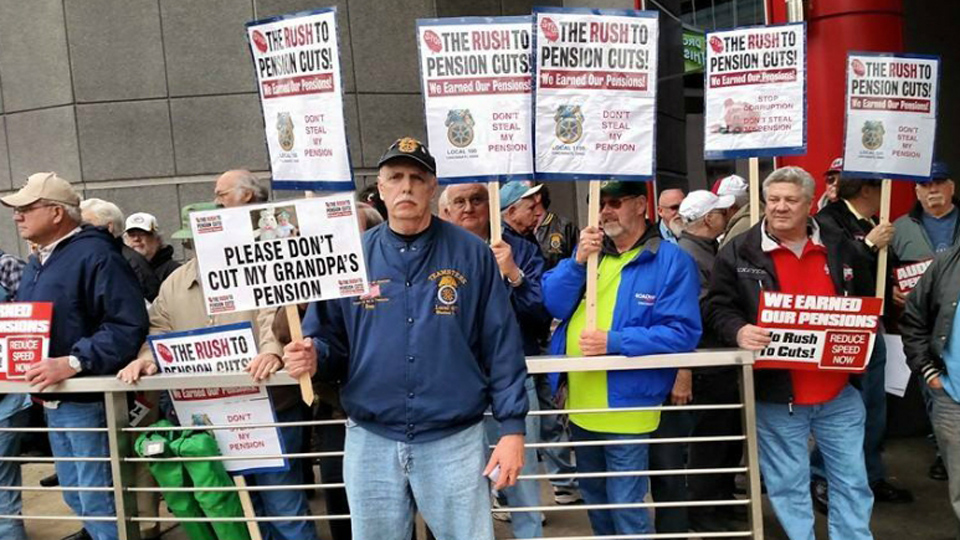 Workers rally to back pension protection bill