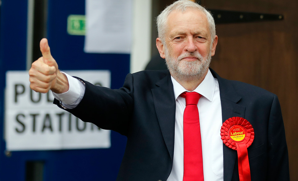 Corbyn's socialist message surges; British Conservatives barely hold on