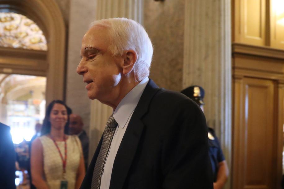 McCain flies in and Pence breaks tie to debate health bill