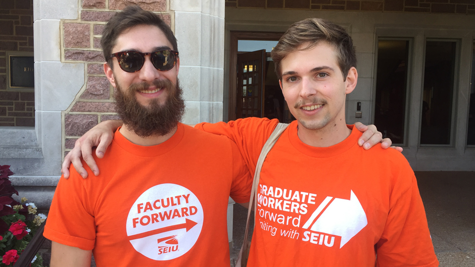 WashU grad student workers rally to support international students and union