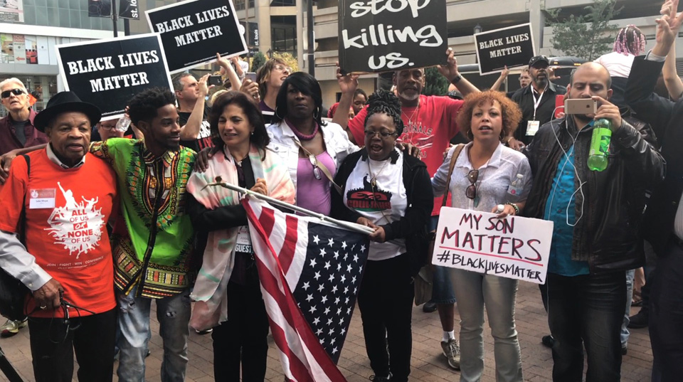 AFL-CIO delegates walk out to join Black Lives Matter protesters