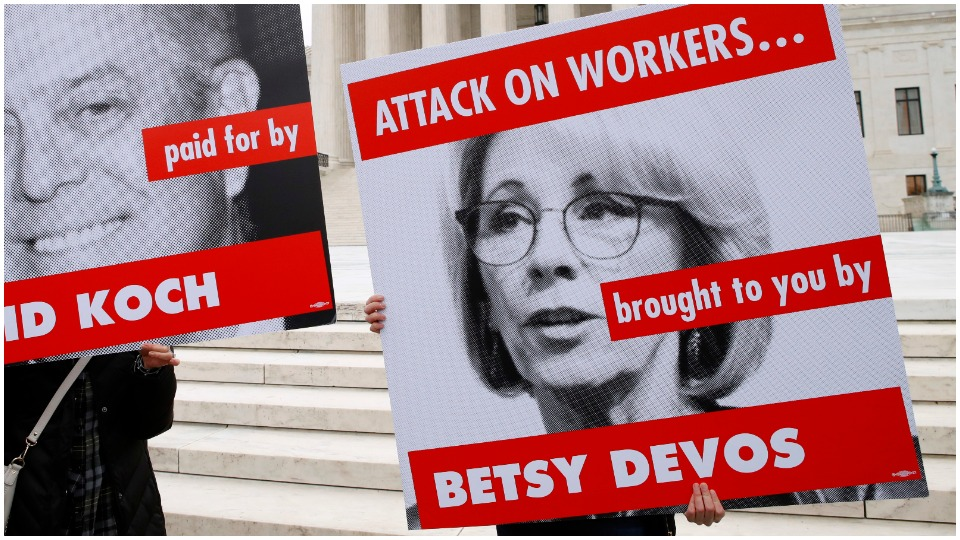 "Trump Ed Secretary DeVos trashes her own workers' union, imposes ""contract"""