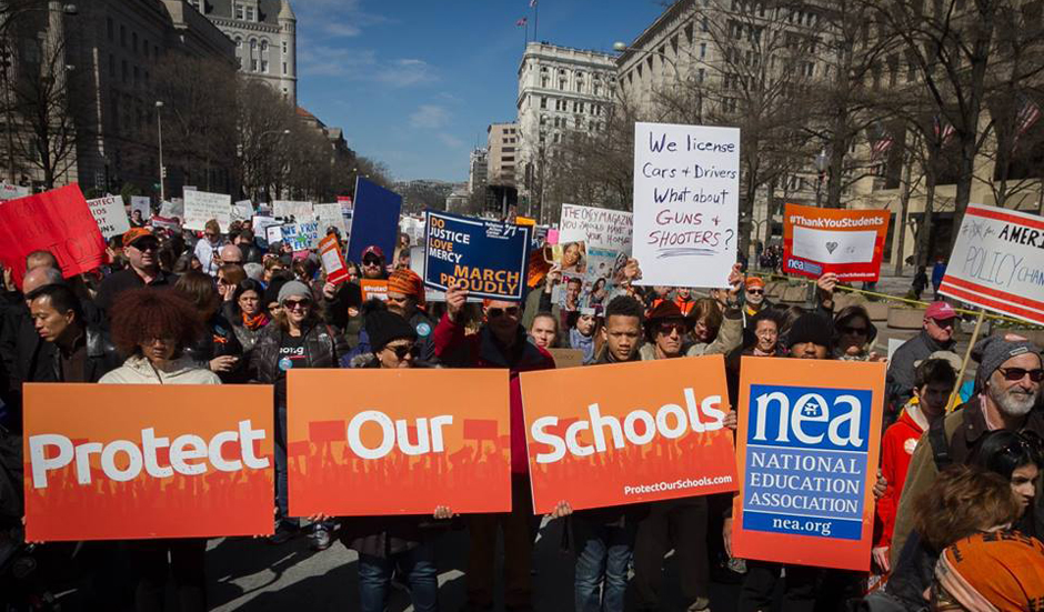Teachers' unions strongly back gun control campaign; most other unions silent