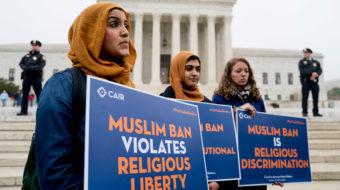 "Supreme Court shows partisan split on Trump's ""Muslim ban"""