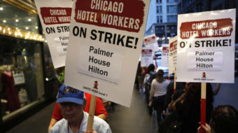 Taking to the streets, Unite Here hotel workers go on strike