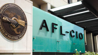 AFL-CIO support staffers walk informational picket line