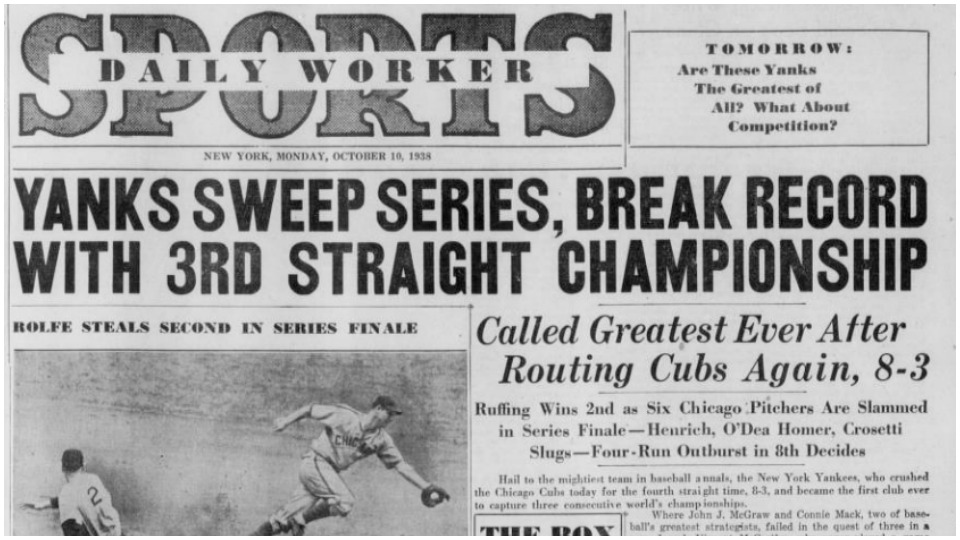 Baseball postseason in the Daily Worker – 80 years ago
