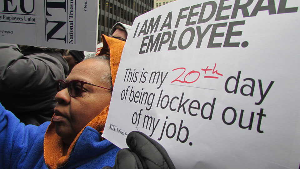 Workers, allies blast Trump lockout of federal workers