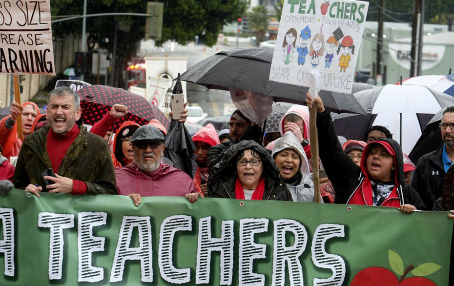 L.A. teachers strike: Wearing red for ed on rainy Day One