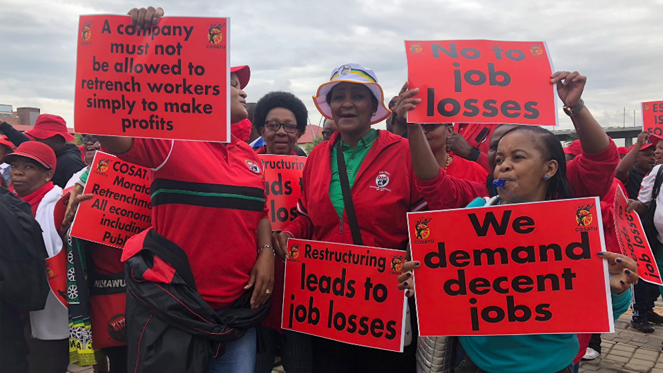 South African unions on national strike over job losses