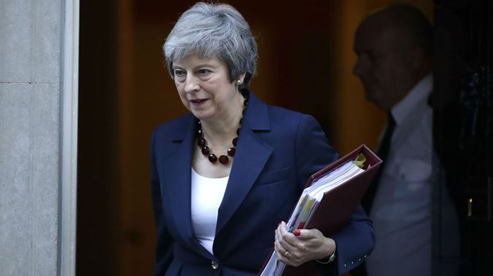 UK's Prime Minister Theresa May on her way out