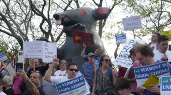 Workers, progressives – complete with The Rat – 'greet' Walker in Vermont