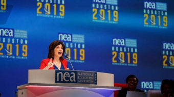 Head of NEA, country's biggest union, says Trump is a danger to democracy