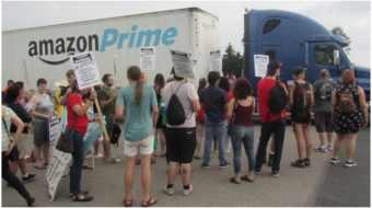 """Human beings, not robots"": Amazon workers strike in Shakopee, Minn."