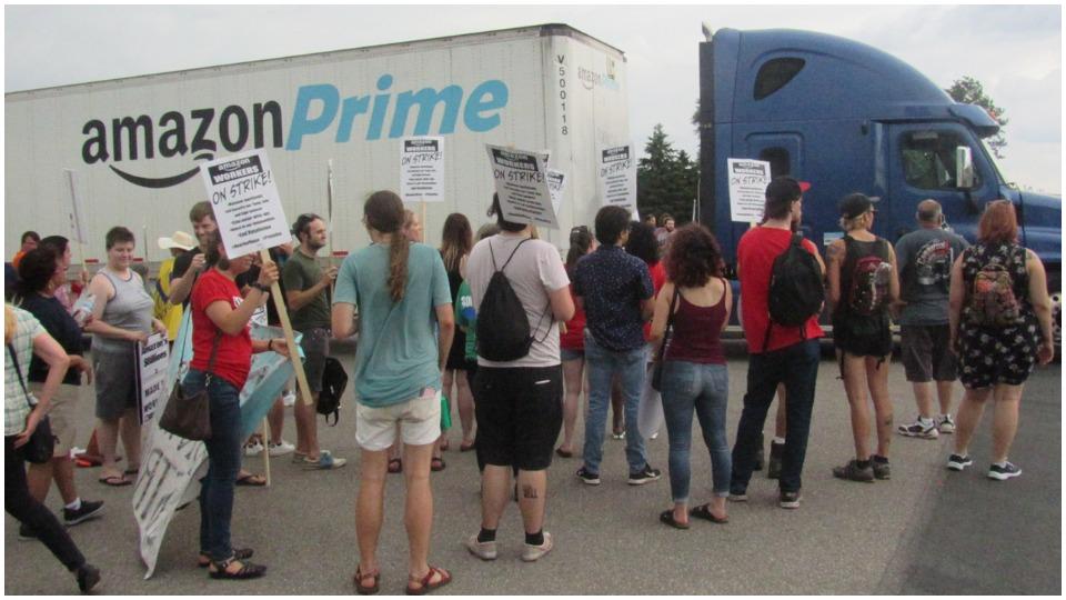 """Human beings, not robots"": Amazon workers strike in Shakopee, Minn."