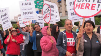 Emeryville workers demand a fair contract: 'One Job Should Be Enough!'