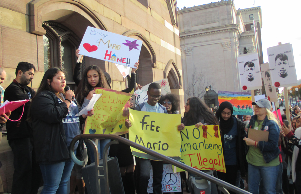 Students rally against detention of classmate by ICE