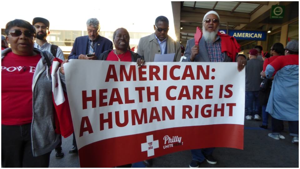 "Union marchers tell American Airlines: ""Healthcare is a human right!"""