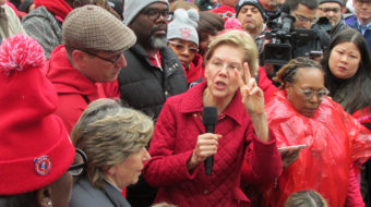Warren rallies with striking teachers, calls for structural education reforms