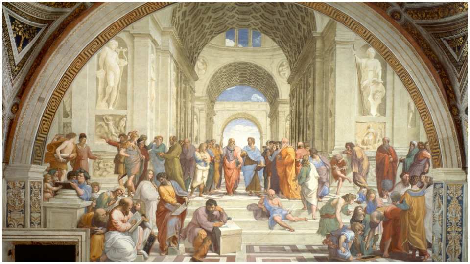 Who helped raphael with the architectural elements in the fresco philosophy (school of athens)