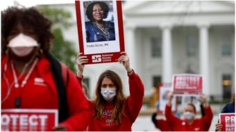 Nurses read names of 50 dead colleagues at White House protest