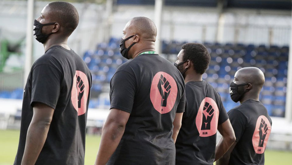 Black players demonstrate at Major League Soccer tourney