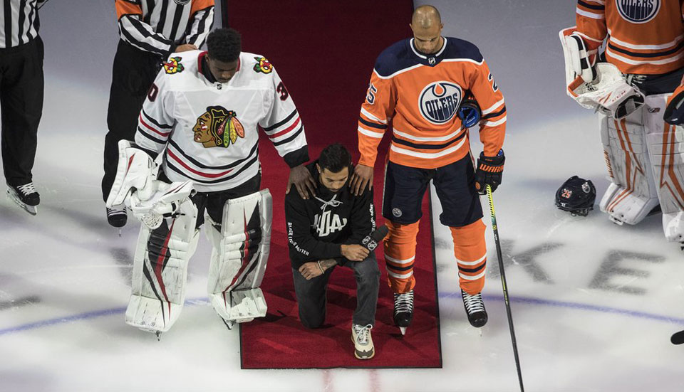 Black Lives Matter takes center ice in a historic moment for the NHL