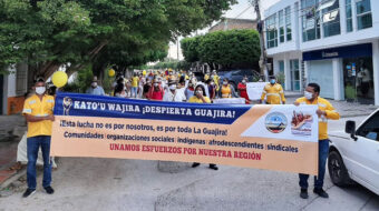 Organizaciones sociales de Colombia marchan en apoyo a Sintracarbón