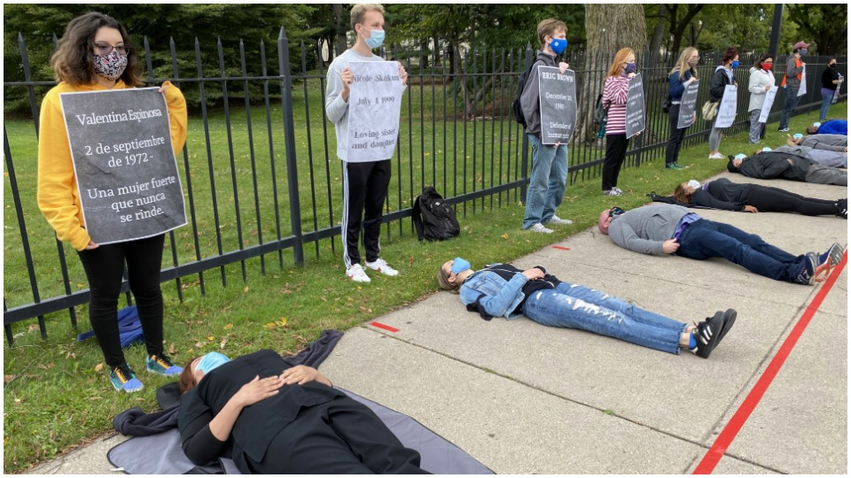 Northwestern food workers 'die-in' for COVID protections
